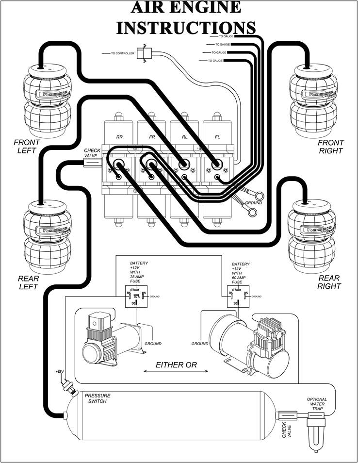 compressor installation instructions airbagit com rh airbagit com air ride wiring relay air ride wiring schematic